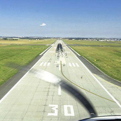 Landing on Prague V.Havel Airport